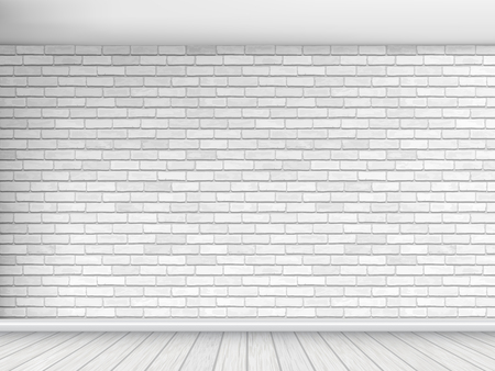 Old wall of white brick with floor and ceiling. Fragment of the interior. Architectural vector background. Stock Illustratie