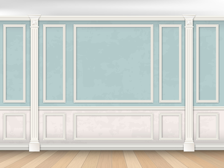 Blue wall interior in classical style with pilasters, moldings and white panel. Architectural background. Illustration