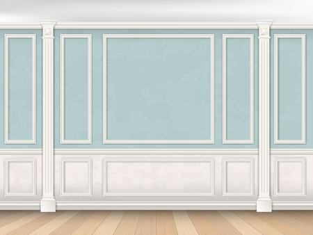 Niebieskie ściany wnętrza w klasycznym stylu z pilastrami, listwy i białym panelem. Architektoniczne tło.