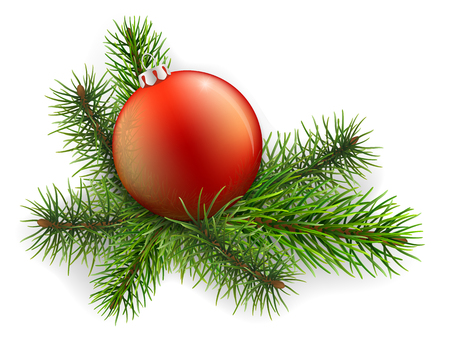 Christmas ball lies on the spruce branches. In the ball a reflection of trees. Vector illustration isolated on white background. Detailed element to decorate Christmas cards. Illustration