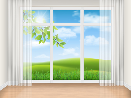 Empty room with big window and rural landscape view. Sunny summer day outside. Vector realistic illustration of the interior. Architectural background. Stock Illustratie