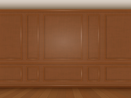 respectable: The wall decorated with wooden panels. Fragment of the classic luxurious interior of the office or living room. Architectural realistic vector background.