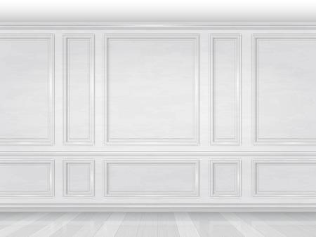 흰색 나무 패널로 장식 벽. 사무실이나 거실의 고전적인 고급스러운 인테리어의 조각입니다. 건축 현실적인 벡터 배경입니다. 일러스트