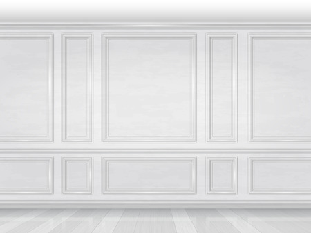 The wall decorated with white wooden panels. Fragment of the classic luxurious interior of the office or living room. Architectural realistic vector background. Çizim
