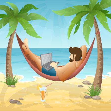 Man liegt in der Hängematte am Strand, unter Palmen und arbeitet an einem Laptop. Vector Illustration von freiberuflich, Urlaub und Reisen.