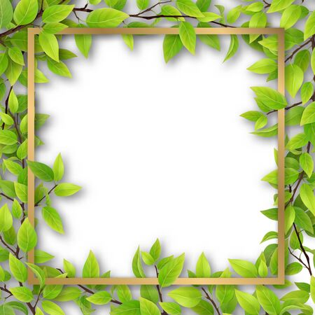 Decorative gold frame, overgrown tree branches with green leaves and an empty space for text. Blank for advertising card or invitation. Illustration