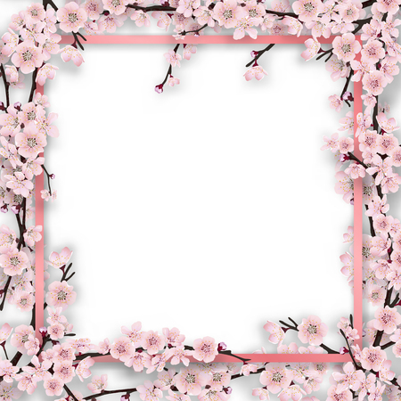overgrown: Pink frame overgrown sakura tree branches with blossom flowers. Vector template for greeting card, seasonal invitation and sale.