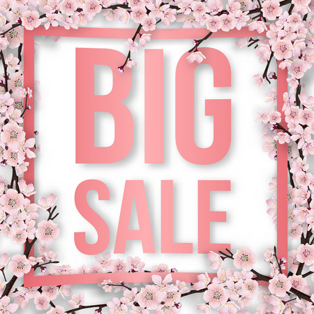 Sale text in pink frame overgrown sakura tree branches with blossom flowers. Vector template for greeting card, seasonal invitation and sale. Illustration
