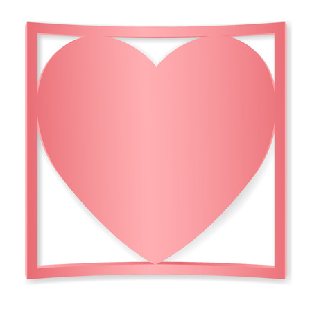 substrate: Pink heart in the square. The substrate for greeting card Happy Valentines Day. Symbol of love. Illustration
