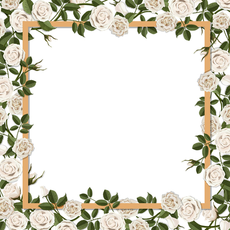 overgrown: Square frame overgrown blossom rose flowers. Vector template for greeting card, wedding or Valentines day.