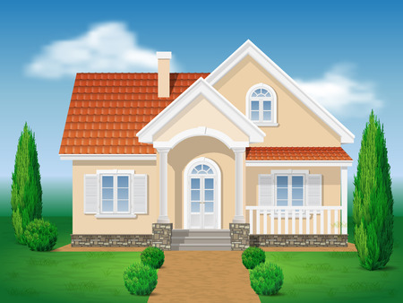 cottage: Country cottage. Front of the house and garden. Grassy lawn and of thuja. Vector detailed illustration.
