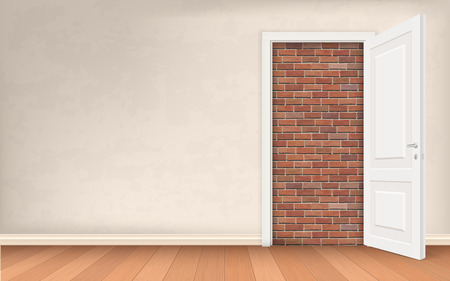 stucco wall: Opened door in stucco wall blocked brick. Vector concept illustration about exit of a difficult situation. Solution to the problem.