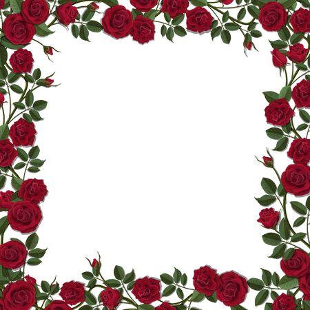 Vierkant frame van rode bloesem roze bloemen. Vector sjabloon voor wenskaart, huwelijk of Valentijnsdag. Stockfoto - 70951893