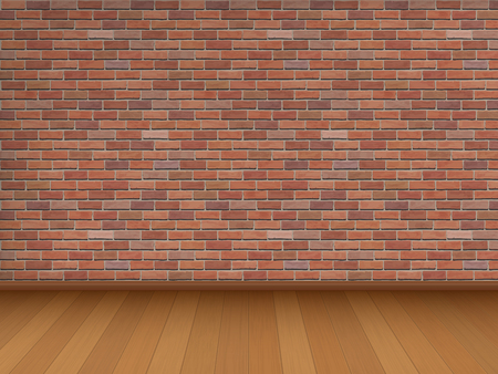 red brick: Red brick wall and wooden floor, architectural design. Vector illustration of interior.
