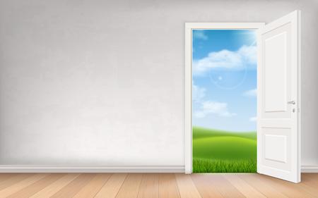 Landscape weergave via open deur in gepleisterde muur. Vectorconcept interieur illustratie.