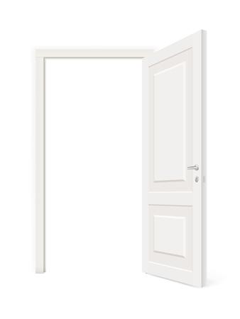 white door: Throw open white door isolated. Realistic vector illustration isolated.