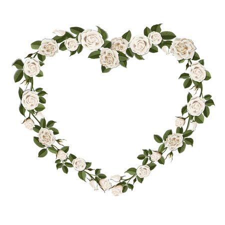 wedding bouquet: Bouquet of white roses in a heart shape symbol. Vector floral frame for greeting or wedding card. Illustration