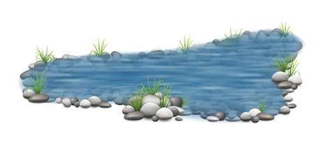 Realistic vector garden pond with stones on the bottom and grass on the shore. Decorative park element for landscape design.
