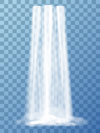 Realistic vector waterfall with clear water. Natural element for design landscape images. Isolated on transparent background.