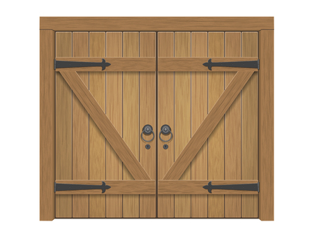 Old wooden massive closed gate. Double door with iron handles and hinges. Illustration