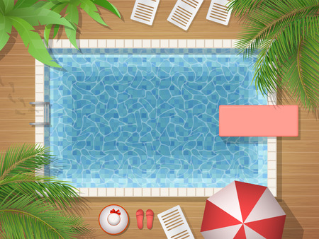sea view: Swimming pool and palm tree top view. Vector illustration of an active vacation or a party.