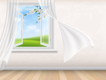 foreground: Empty room interior with open window. View through window on spring rural landscape with blooming tree branches on foreground. Wind waves white, transparent curtains. Illustration