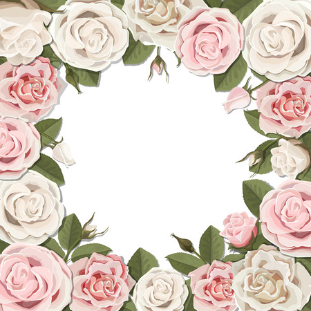 Square frame of white and pink blossom rose flowers. Vector template for greeting card, wedding or Valentines day.