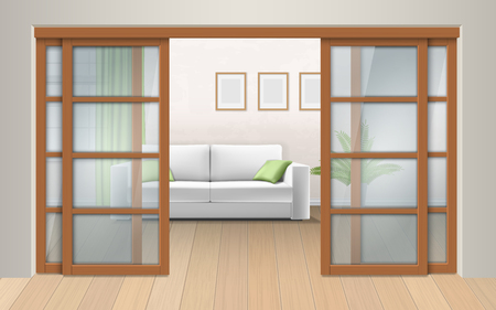 Living room interior with sliding doors. Entrance to the room from the corridor. Vector realistic illustration.
