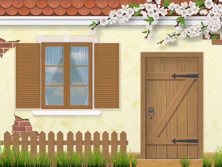 old building facade: Facade of the old building in the spring season. Wooden window, door. Flowering branches of a tree fence with grass. Rural traditional style. Vector illustration. Illustration
