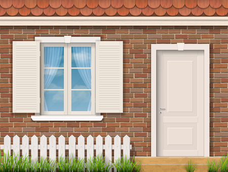 Brick facade of the old building with a white window and a door. Red tile roof. Front garden near entrance of the house. Vector detailed illustration. Stock Illustratie