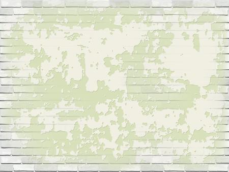 Old white brick wall with green peeling plaster. Vector vintage background. Ilustração Vetorial