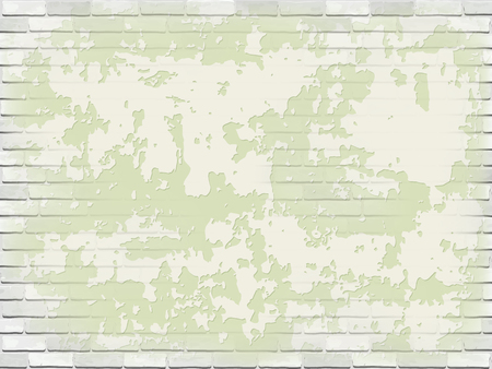 Old white brick wall with green peeling plaster. Vector vintage background.