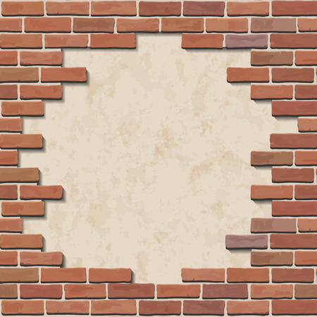 old brick wall: Damaged red brick wall with hole. Illustration