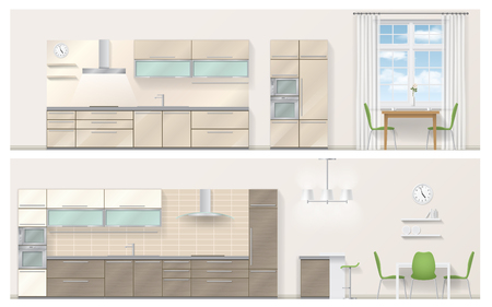 refrigerator: Set of kitchen furniture in a realistic 3D style. Detailed vector illustration. Orthographic view. Illustration