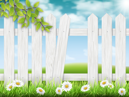 country: White wooden fence with broken plank on rural landscape background and a branch of a tree on the foreground. Vector detailed illustration. Illustration