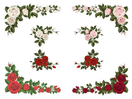 Satz verschiedene Farbe der Blumenstraußrosen für Designgruß- und -hochzeitskarten. Eckelement.