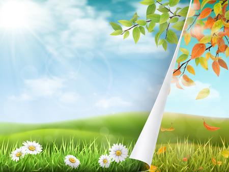 Wechsel der Jahreszeiten von Sommer zu Herbst. Umblättern ist der Sommer, nach dem der Herbst kommt. Saisonvektorillustration des Konzeptes mit Landschaft. Standard-Bild - 81383488