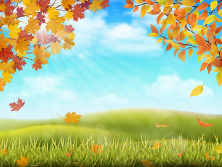 Rural hilly landscape in autumn season. Tree branches with yellow and red leaves on front plan. Grass with fallen foliage on background. Vector realistic illustration. 向量圖像