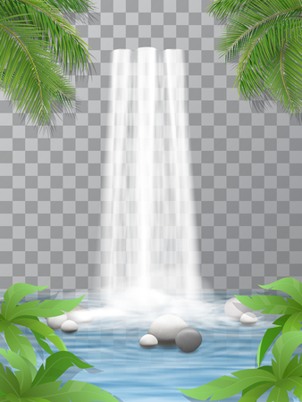 Realistic vector waterfall with clear water. Stones in water. Jungle, leaves of plants in the foreground. Natural element for design landscape images. Isolated on transparent background. Vectores
