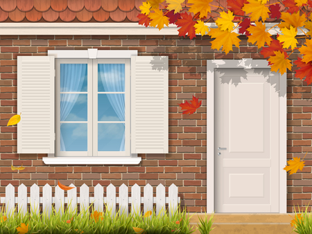 The brick house facade with dooryard in the autumn season. Maple tree branch with fallen leaves. Vector realistic illustration.