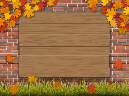 A wooden sign nailed to the brick wall overgrown autumn maple branches. Green grass and fallen tree leaves in the foreground. Seasonal vector illustration. Illustration