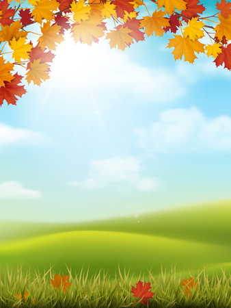 Vector autumn landscape with sky and hills. Maple branches and grass with fallen leaves on foreground.