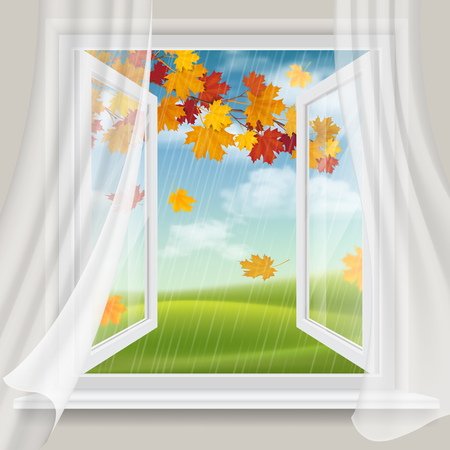 View of autumn landscape with falling leaves through an open window.