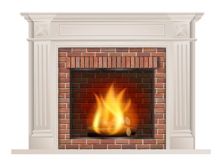 Chimenea clásica con pilastras y un horno con ladrillo rojo en el interior. Foto de archivo - 89291353