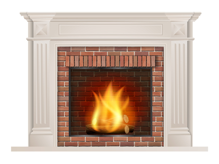 Classic fireplace with pilasters and a furnace with red brick inside. Ilustração