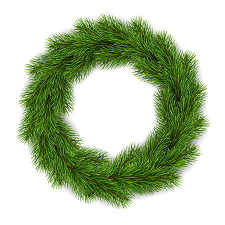 Realistic Christmas wreath for greeting card design. Illustration