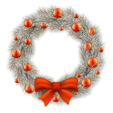 White Christmas wreath decorated red balls. Realistic vector illustration. Element for design greeting cards.
