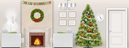 Modern living room interior with christmas tree, furniture and fireplace. Vector illustration. Illustration
