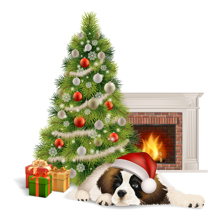 A cute fluffy dog in Santa Claus hat lies near the Christmas tree and gift boxes, before the fireplace.