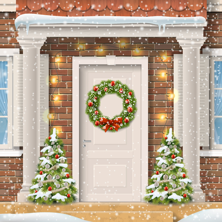 Entrance to the suburban house decorated with a Christmas wreath on the door with a garland and spruce. Vector detailed realistic illustration.